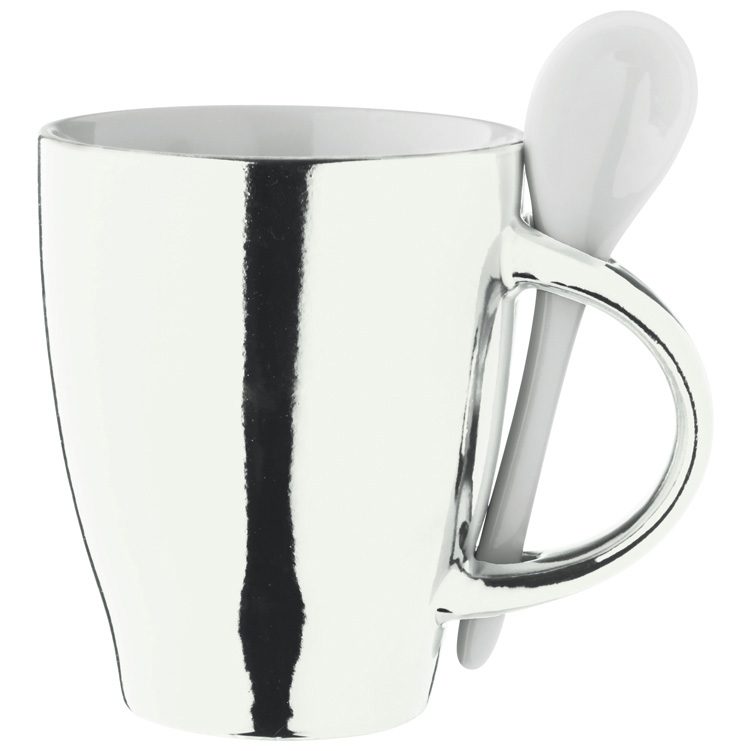 Chrome cup with<br> spoon<br>&quot;Aversa&quot;